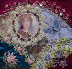 I ❤ crazy quilting & ribbon embroidery . . . I made this picture with my PhotoPal for iPad ~By Nicki Lee