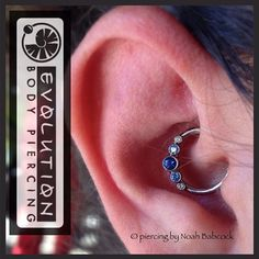 Healed #daith piercing with #titanium jewelry by #anatometal  (at Evolution Piercing)