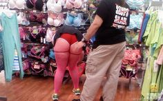 Red Short Shorts Pink Stockings and Green Shoes at Walmart - Funny Pictures at Walmart Walmart Funny, Go To Walmart, Only At Walmart, People Of Walmart, Dumb People, Crazy People, Strange People, Gross People, Crazy Things