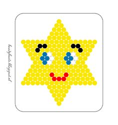 Beady Beads - Star 6d. Perler / Hama / Fusion / Melty / Pyssla Beads. Free Pattern Card! Visit my blog for more free patterns.