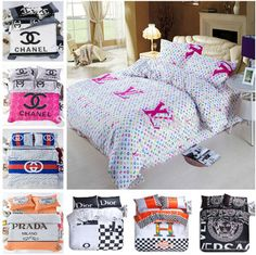 LUXURY DESIGNER 3D PRINTING COTTON DUVET COVER BEDDING COTTON COMFORTER COVER COVER BRAND PILLOWCASE BEDSHEET SETS