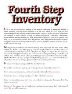 aa step 4 inventory worksheet aa step 4 worksheet printable preschool ...