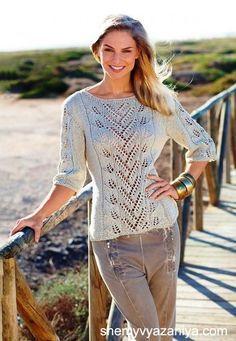 Blattmusterpulli in Leinen - Lilly is Love Summer Knitting, Lace Knitting, Crochet Woman, Knit Crochet, Pullover Outfit, Cardigan Pattern, Knit Patterns, Crochet Clothes, Knitwear