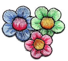 BaZooples-Flower Cluster, Pink, Green & Blue Iron On Embroidered Applique