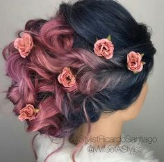 Dark blue, rose pink hair color. Dark to light. Updo hairstyle with roses. Wedding hairstyles.