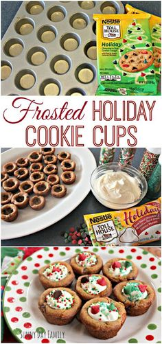 Easy Frosted Holiday Cookie Cups! Use refrigerated cookie dough to make these delicious treats for your Christmas party or a plate for Santa! Fun to make and decorate - your family will love them! #NestleHolidayBaking [ad] @verybestbaking