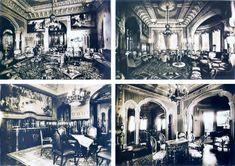 Acima, duas fotografias, com ângulos diferentes, do salão de visitas, em que o teto trazia adornos em ouro. Abaixo, à esquerda, vista parcial da sala de banquetes e, à direita, uma sala auxiliar.
