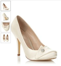 Satin Ivory Lace Platform Heels Wedding Bridal Shoes Amazoncouk