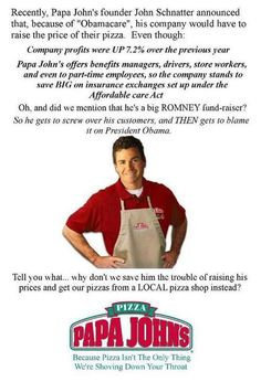 I'm not sure what to think about that. But I'm to poor to pay more for my pizza, so I will just make it myself