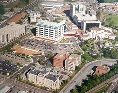 Aerial photo of St Jude Children's Research Hospital campus in Memphis, Tennessee