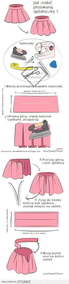 Stylowi.pl - Odkrywaj, kolekcjonuj, kupuj Diy Embroidery Stitches, Embroidery Patterns, Sewing Machine Presser Foot, Diy Fashion, Fashion Design, Pleated Midi Skirt, Couture, Refashion, Diy Clothes