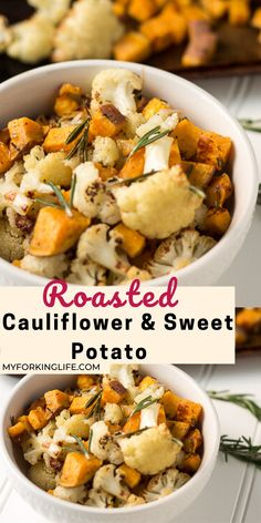 This Roasted Cauliflower and Sweet Potato Recipe is a perfect easy side dish for any dinner. And the added rosemary and garlic give it wonderful flavor. Sweet Potato Recipes, Quick Recipes, Diet Recipes, Healthy Meals, Healthy Recipes, New Recipes For Dinner, Black Food, Sunday Suppers, Best Food Ever