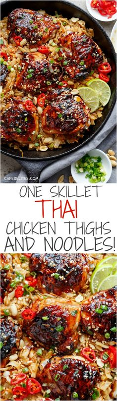 One Skillet Thai Chicken Thighs + Noodles! A sticky, Thai inspired chicken recipe served with Thai Rice noodles, cooked in one skillet! | http://cafedelites.com
