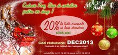 Cadouri Feng Shui de Sarbatori! 20% REDEUCERE in luna Decembrie Cod de reducere: DEC2013 Filositi-l in cosul de cumparaturi la sectiunea coduri de reducere! Pentru mai multe detalii despre codurile de reducere si folosirea lor la FengShui4Life.ro poti gasi aici: http://www.fengshui4life.ro/cupoane-reduceri/