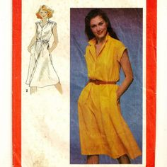 A Topstitched, Sleeveless or Short Sleeve, Front Buttoned Dress Pattern, Vintage 1980