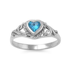 Sterling Silver Children's Ring with Topaz CZ Heart