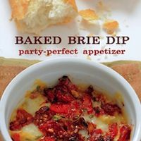 Baked Brie Dip Recipe  8-10 oz. Brie  8 oz. jar of sun dried tomatoes packed in oil, chopped  2 medium garlic cloves, minced  1 heaping teaspoon of dried thyme or 3/4 teaspoon fresh thyme leaves  fresh cracked black pepper  Baguette or crackers  directions: 325 degrees 30 min