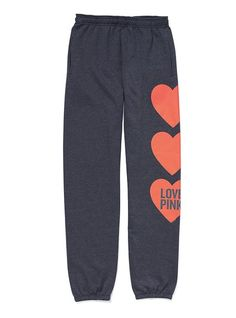 Love these..I have the purple ones and I live in them (Victoria's Secret PINK Campus Pant Heart Grey XS)