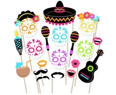Printable Day of the Dead Photo Booth Props by PrintablePropShop