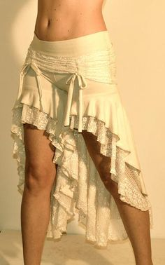 Wish | Skirted Deadwood Bloomers In Cream Lace and Bamboo French Terry