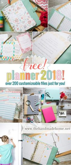 free planner 2018 that is filled with tons of pages to organize your life! From Daily Planning to Weekend Planning and beyond. So get organized with this FREE Printable Personal Planner. Planner Inserts, Planner Pages, Printable Planner, Planner Stickers, Free Printables, Planner Ideas, Binder Inserts, Planner Template, 2018 Planner