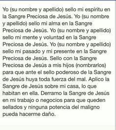 Oracion para sellar mi vida y mi familia con la sangre preciosa de Jesús.