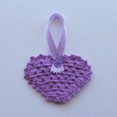 Hartjie versiersel pers Heart Decorations, Crochet Hats, Purple, Products, Crocheted Hats, Viola