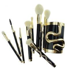Women's Black & Gold Professional 10Pcs Cosmetics Synthetic Hair Makeup Brush Set - Navaeh Gold Makeup Brush Holders, Makeup Brush Set, Gold Makeup, Hair Makeup, Makeup Tools, Synthetic Hair, Hair Lengths, Best Makeup Products, Black Gold
