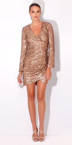 Copper Long Sleeve Wrap Sequin Dress