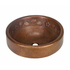 The Prescenio Copper Vessel Sink - Floral by SoLuna features a band of leaves and flowers along the interior of the basin.