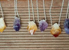 Citrine Necklace, raw crystal