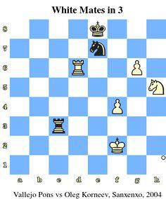 White Mates in 3. Vallejo Pons vs Oleg Korneev, Sanxenxo, 2004 www.chess-and-strategy.com #echecs #chess #strategie #quiz