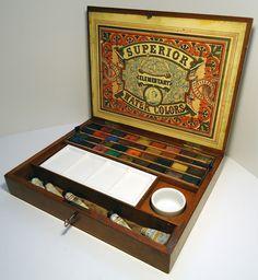 Virtual Museum of Antique & Vintage Artists watercolor paint ,boxes, paper