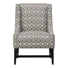 "Chloe Chair 25""Wx34""Dx36""H  Graphic garden gate pattern in an earthy brindle and white redefines the classic living room slipper chair. Beautifully tailored with refined sloping curves. Sits comfortable and welcoming with an angle to the back. Lautrec-stained hardwood trestle base and legs. Bella Porte Brindle (gray)"