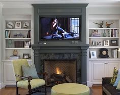 contemporary-ventless-gas-fireplace-white-bookshelf-creamy-white-ottoman-brown-sofa-laminated-wooden-floor.jpg (550×440)
