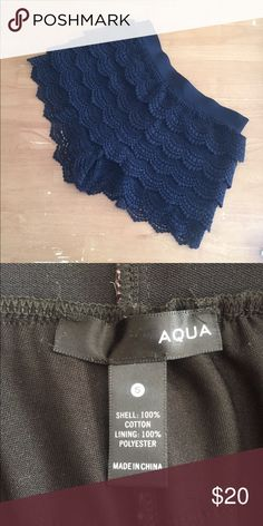 Black Aqua Shorts These scalloped black Aqua shorts are great for lounging around! They dress up a plain t-shirt and look cute with heels or flip flops! Lightly worn, great condition. Aqua Shorts