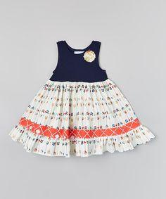 Navy & Ivory Arrow Ruffle Dress - Infant, Toddler & Girls