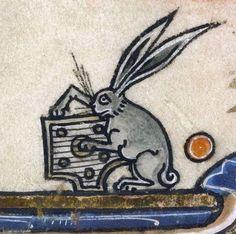 Rabbit musician, Vincent of Beauvais, Speculum historiale, France ca. 1295 (Boulogne-sur-Mer, BM, ms.130II, f. 259r)