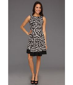 $91.99 ~ Vince Camuto Sleeveless A-Line Abstract Dress Rich Black - 6pm.com