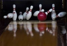 The sound the pins make after getting a strike in bowling.