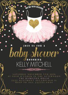 Pink Tutu Baby Shower Invitation Glitter And Gold Ballerina