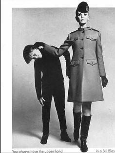 Dorothea McGowan in a coat for Bill Blass, 1967