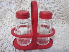 Vintage Retro Kitchen Three Piece Salt, Pepper Caddy Set