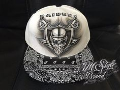 Oakland Raiders airbrush snap back with bandana brim