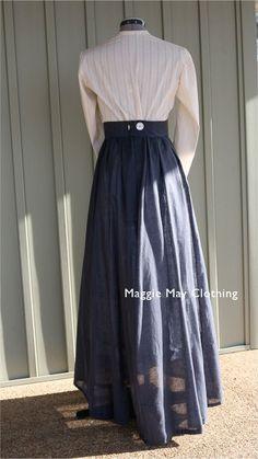 rural day wear – Maggie May Clothing- Fine Historical Fashion 1890s Fashion, Edwardian Fashion, Vintage Fashion, Historical Costume, Historical Clothing, Historical Dress, Mode Outfits, Fashion Outfits, Steampunk Fashion