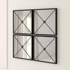 Polaris Large Framed Wall Mirror & Reviews | Joss & Main Set Of 4 Wall Mirrors, Wall Mirror Online, Mirror Set, Wall Mounted Mirror, Frames On Wall, Framed Wall, Black Wall Mirrors, Black Shelves