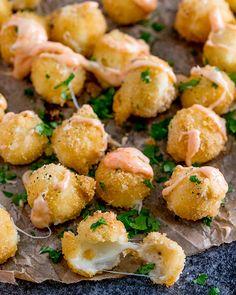 crispy mozzarella bites honey sriracha mayo 2