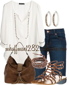 """""""Casual Studs"""" by mhuffman1282 ❤ liked on Polyvore"""