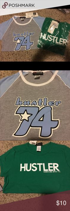 2 Hustler shirts - brand new 2 brand new Hustler Hollywood shirts. One green and one grey. This listing is for size L, but I have other sizes as well. (And other colors too). These are the only 2 styles I have in a large though! Hustler Tops Tees - Short Sleeve