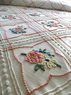 Vintage chenille bedspread.- love it.  I grew up with a vintage chenille summer bedspread - loved it!